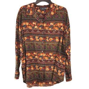 Vintage Liz Claiborne Floral Mixed Print Shirt